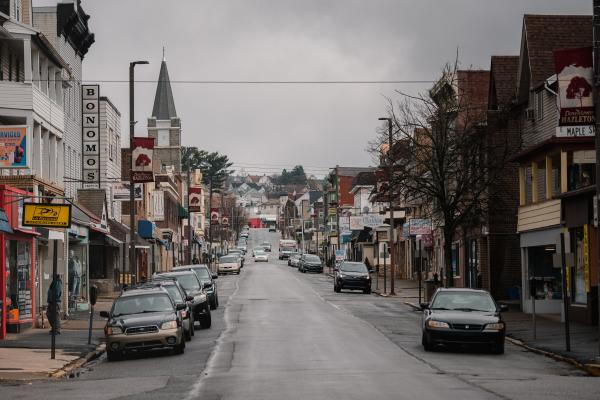 North Wyoming Street is empty in Hazleton, PA. on Saturday, April 18, 2020. Hazleton has been hit the hardest with the coronavirus in Pennsylvania. Hannah Yoon