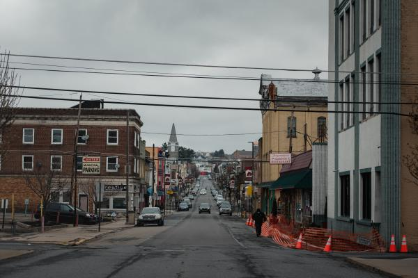 North Wyoming Street is empty in Hazelton, PA. on Saturday, April 18, 2020. Hazleton has been hit the hardest with the coronavirus in Pennsylvania. Hannah Yoon