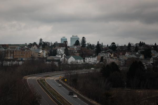 The west end of Hazleton, PA can be seen from route 924 in Hazleton, PA. on Saturday, April 18, 2020. Hazleton has been hit the hardest with the coronavirus in Pennsylvania. Hannah Yoon