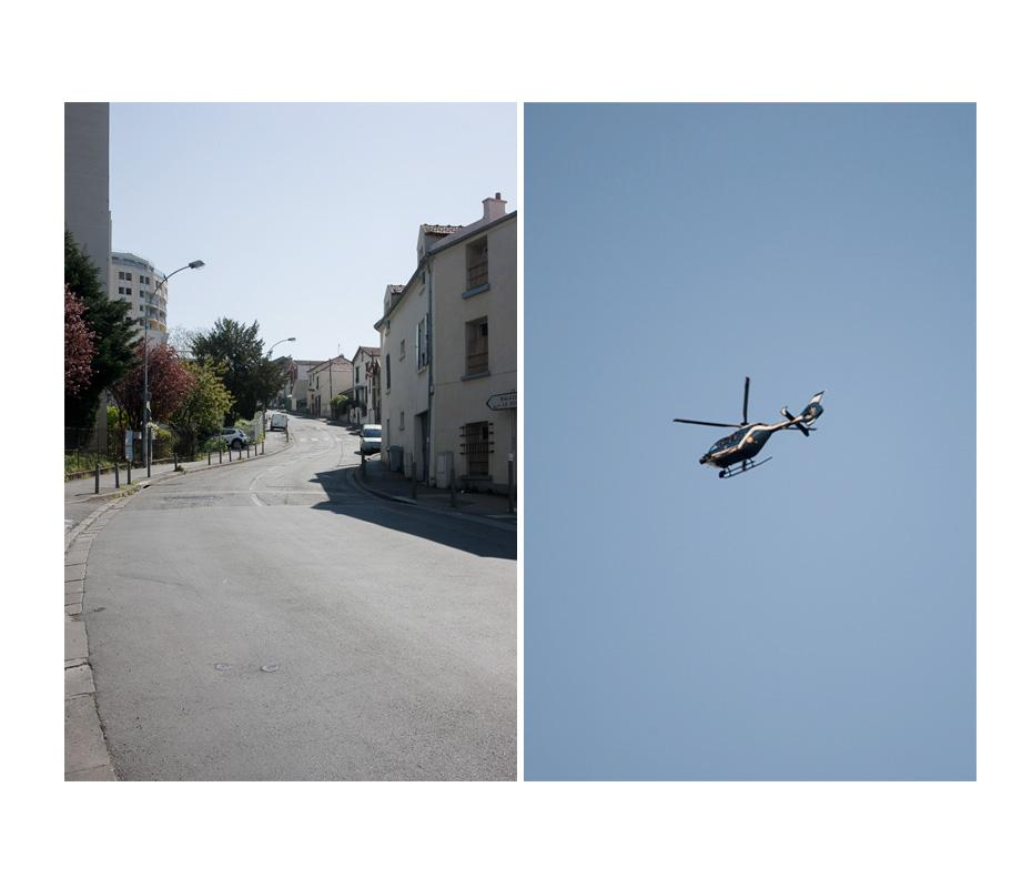Empty Lénine street. April 8, 2020 A chopper from the Police forces patrolling. April 9, 2020