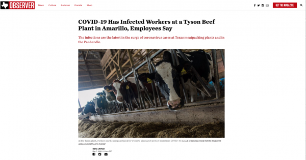 Text:  https://www.texasobserver.org/covid-19-has-infected-workers-at-a-tyson-beef-plant-in-amarillo-employees-say/
