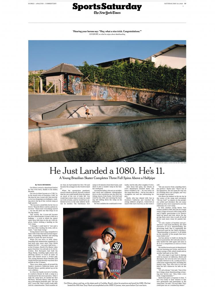 Curitiba, Brazil – May 19th, 2020: Brazilian skater Gui Khury at the Greenbox, the Skateboard Training Facility where he practices. It was at the Greenbox that Gui performed a 1080-degree turn, a three full aerial spin. CREDIT: Isabella Lanave for The New York Times