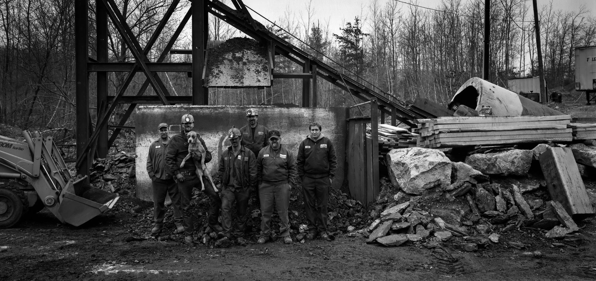 Little Buck Mine crew with dog