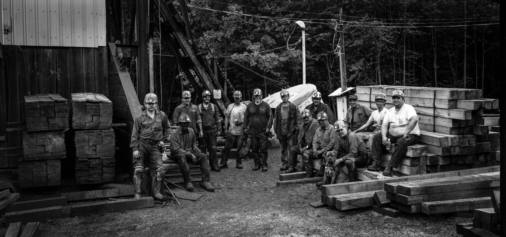 Orchard Slope Mine crew with dog