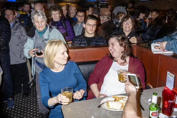 Senator KIRSTEN GILLIBRAND (D-NY) campaigns at The Airliner in Iowa City, Iowa on Monday, February 18, 2019.