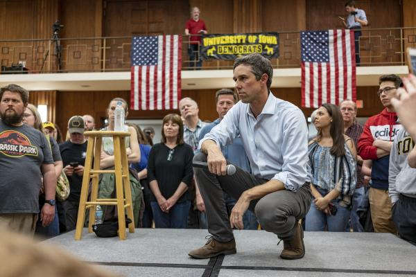 Beto O'Rourke listens to a question while campaigning at the Iowa Memorial Union in Iowa City on Sunday, April 7, 2019. KC McGinnis for The Gazette