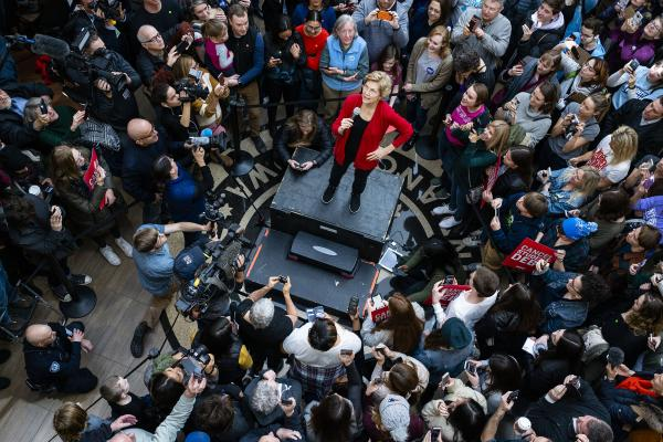 Elizabeth Warren talks to supporters at a campaign event at Simpson College in Indianola, Iowa on Sunday, February 2, 2020. KC McGinnis for Politico