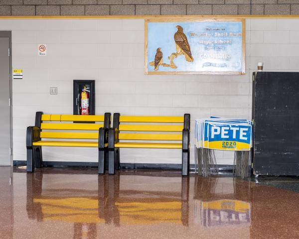 Signs sit against a wall before South Bend, Indiana mayor and 2020 presidential candidate Pete Buttigieg speaks to Iowans at a town hall at Waverly-Shell Rock Senior High School in Waverly, Iowa on Sunday, November 3, 2019. KC McGinnis for Politico Magazine