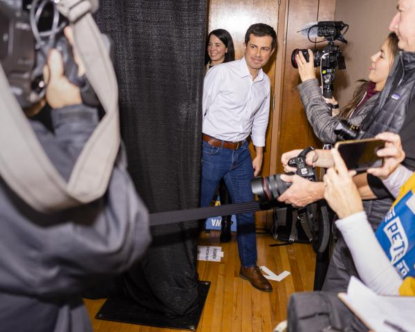 South Bend, Indiana mayor and 2020 presidential candidate Pete Buttigieg enters the stage during a campaign event at the Elks Lodge in Charles City, Iowa on Sunday, November 3, 2019. KC McGinnis for Politico Magazine