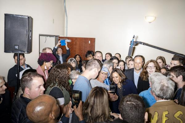 California Senator Kamala Harris campaigns at a Polk County Democrats event in Des Moines, Iowa, U.S., October 22, 2018. REUTERS/KC McGinnis