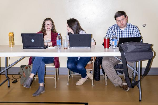 Des Moines Register reporters Brianne Pfannenstiel, Kim Norvell and Kevin Hardy cover the Heartland Forum at Buena Vista University in Storm Lake, Iowa on Saturday, March 30, 2019. KC McGinnis for Politico