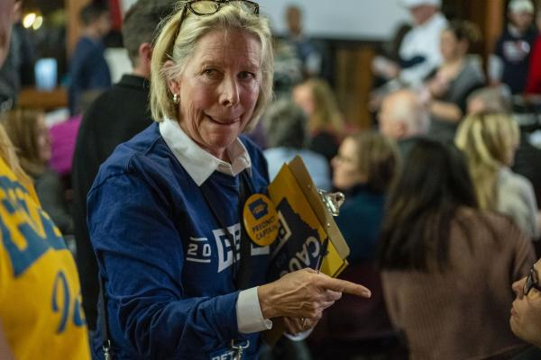 Pete Buttigieg precinct captain Chris Sidwell counts Buttigieg supporters while Iowa residents caucus for Urbandale Precinct 11 at Living History Farms in Urbandale, Iowa on Monday, February 3, 2020. KC McGinnis for Politico