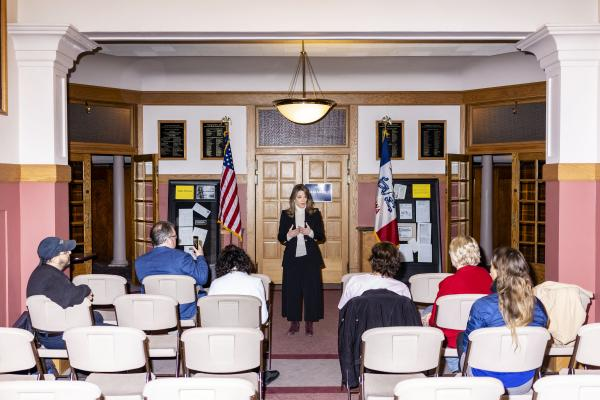 Marianne Williamson campaigns at the Donna Reed Theatre in Denison, Iowa on Saturday, March 2, 2019. KC McGinnis for Buzzfeed News