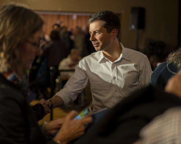 South Bend, Indiana mayor and 2020 presidential candidate Pete Buttigieg greets supporters at a campaign event at the Elks Lodge in Charles City, Iowa on Sunday, November 3, 2019. KC McGinnis for Politico Magazine