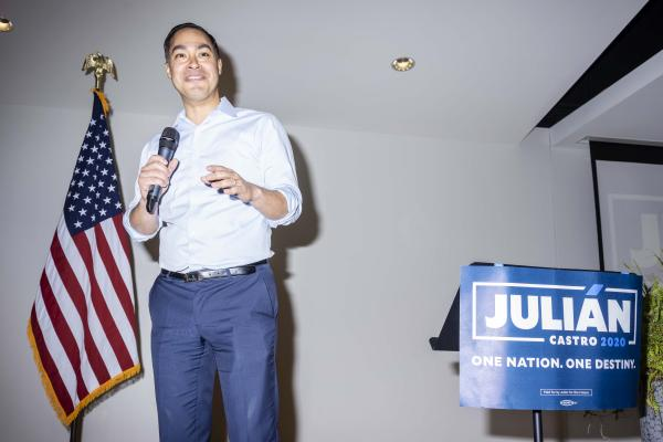 JULI�N CASTRO campaigns at Grand View University in Des Moines, Iowa on Thursday, February 21, 2019.