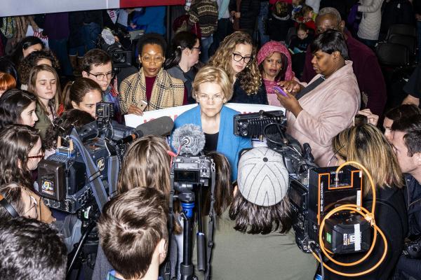 Massachusetts Senator Elizabeth Warren campaigns in Iowa City, Iowa on Sunday, February 10, 2019. ©2019 KC McGinnis