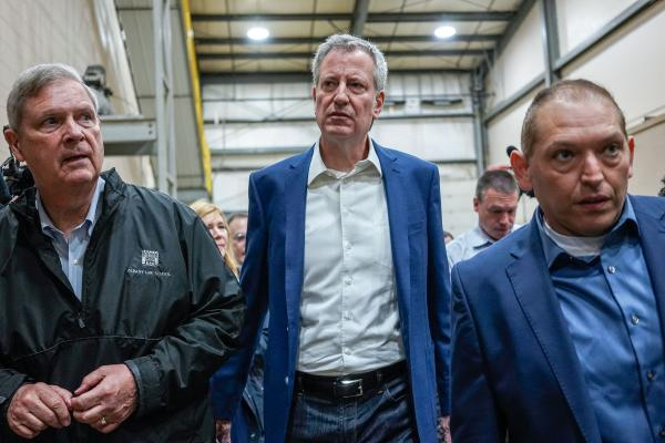 New York City Mayor Bill de Blasio tours the POET Biorefining Ethanol Facility while campaigning for president with former U.S. Secretary of Agriculture and Iowa governor Tom Vilsack and POET General Manager Wael Sanduka in Gowrie, Iowa on Friday, May 17, 2019. KC McGinnis for The New York Post