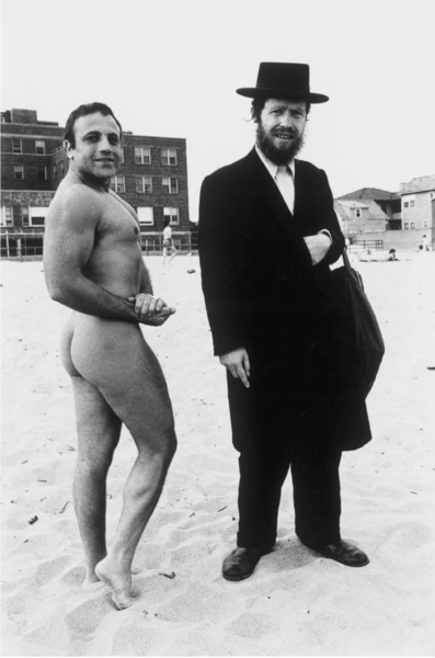 Hasid and Bodybuilder  Coney Island 1980  11 inches X 14 inches (279.4mm X 355.6mm)