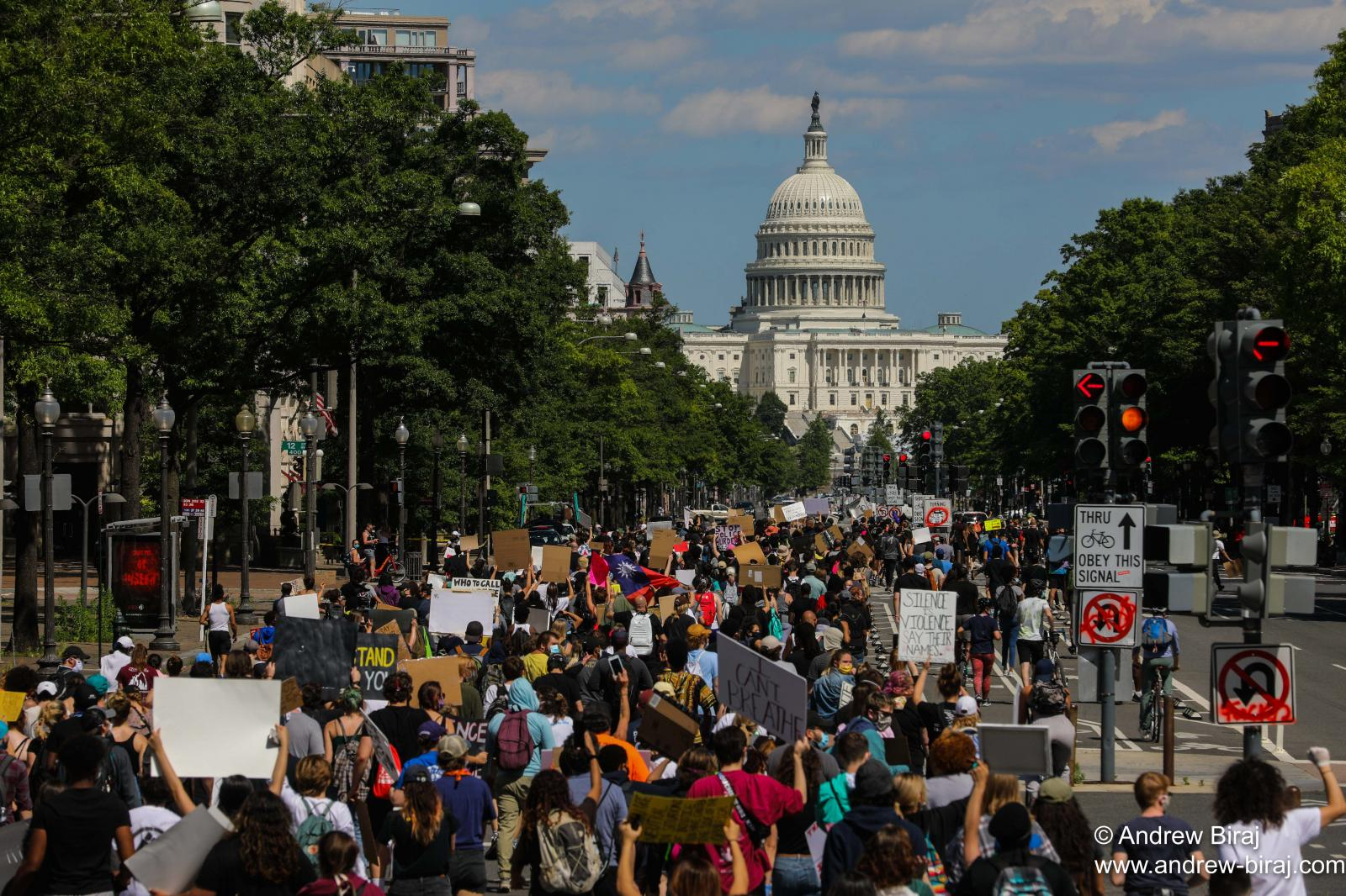 Demonstrators protest peacefully as they merge to the U.S Capitol in Washington, D.C., U.S.A. Thousands of people protest against the death in Minneapolis custody of George Floyd, in Washington on June 1, 2020.