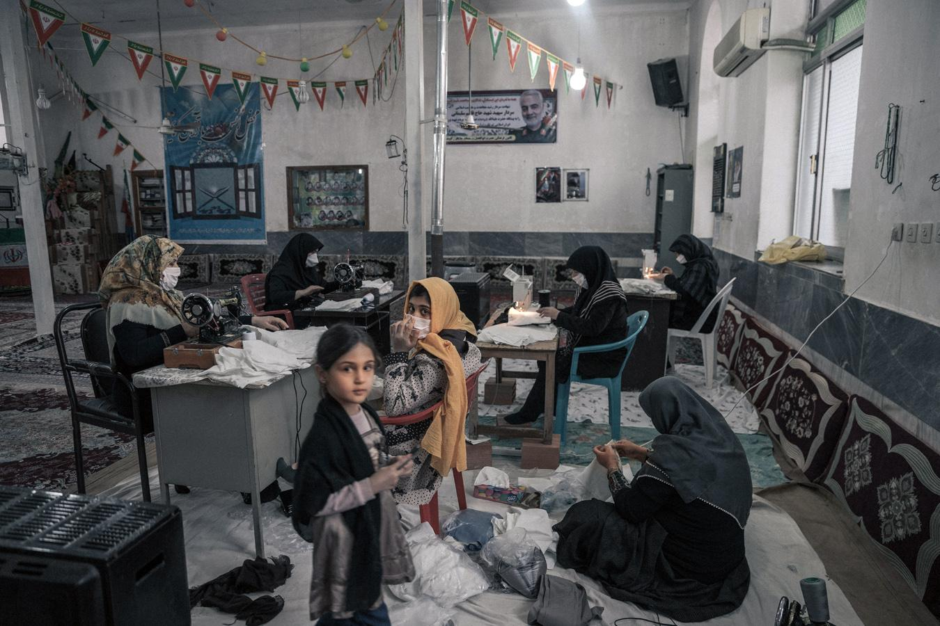 Volunteer women are gathered at the mosques and sewing. Due to the rapid expansion of the coronavirus, the shortage of medical equipment, for example, masks and covers, made the situation worse. Somayeh Ahani, the supervisor of women, suffers from Fibromyalgia. One of the tailor women said during the war we used to gather at the mosque to help people and this pandemic situation is similar to that (war period).