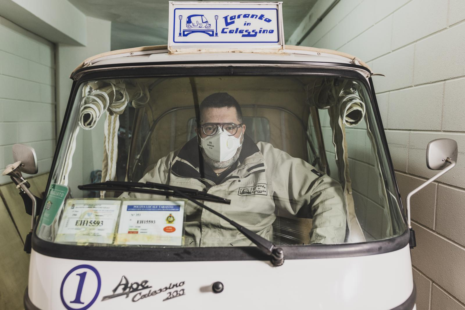 – Giovanni Cianciaruso (48). In 2017 he launched a start-up with the Apecar Calessino, the characteristic Italian three wheels' vehicle. He drives tourists around the old city of Taranto. In 2019 he managed to promote more than one thousand tours. Now he is forced to keep his three little vehicles in his garage. Before Covid19 stopped every activity, his association had turned into a company, and Cianciaruso was about to hire the first three part-time drivers, people who are now home without work.