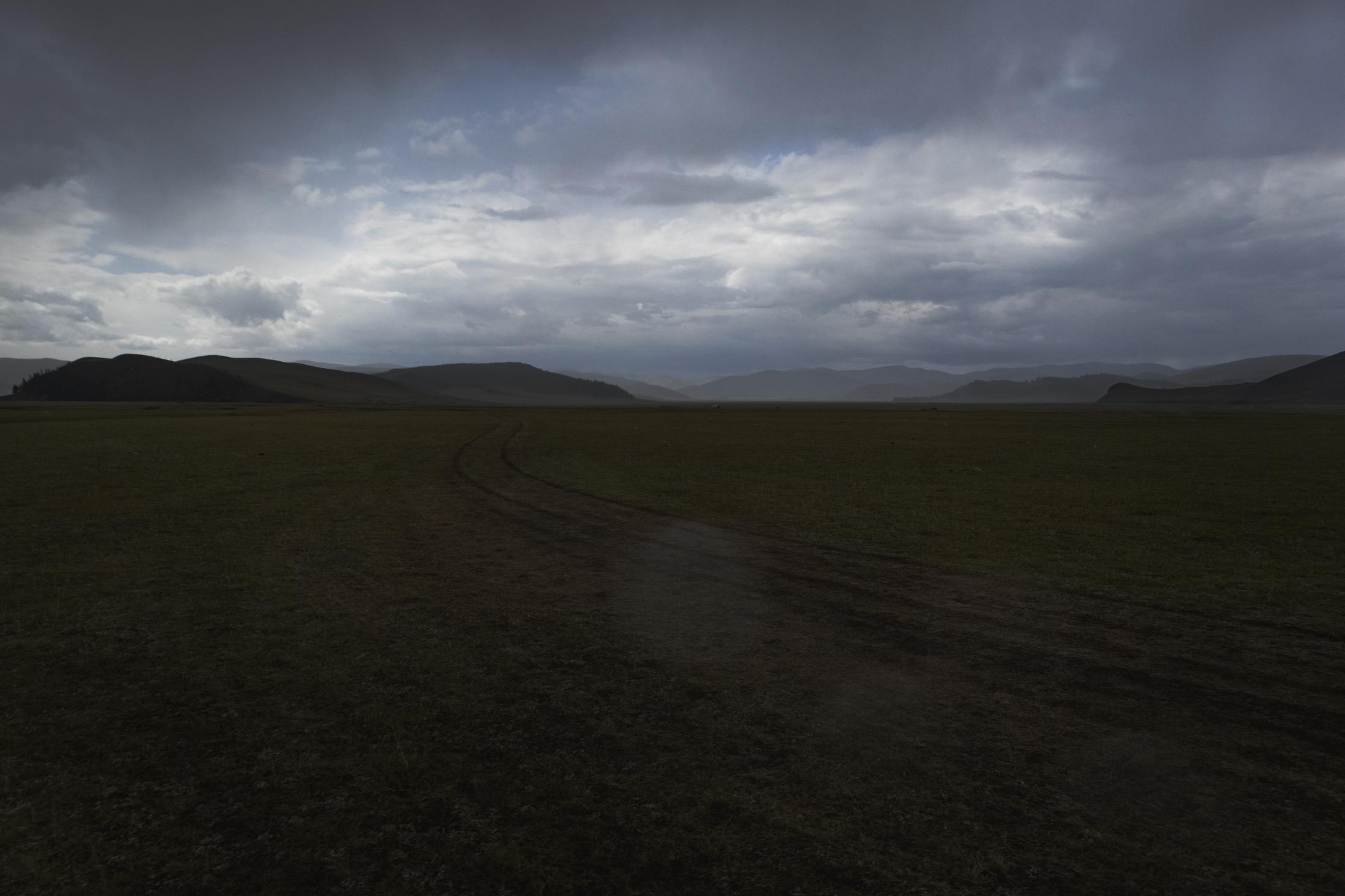 Le vie percorribili sono molteplici nell'immensità della steppa mongola. Le strade asfaltate sono presenti infatti solo nei dintorni delle poche maggiori città. (Mongolia Centrale. Mongolia, 2019) ©Simone Filpa
