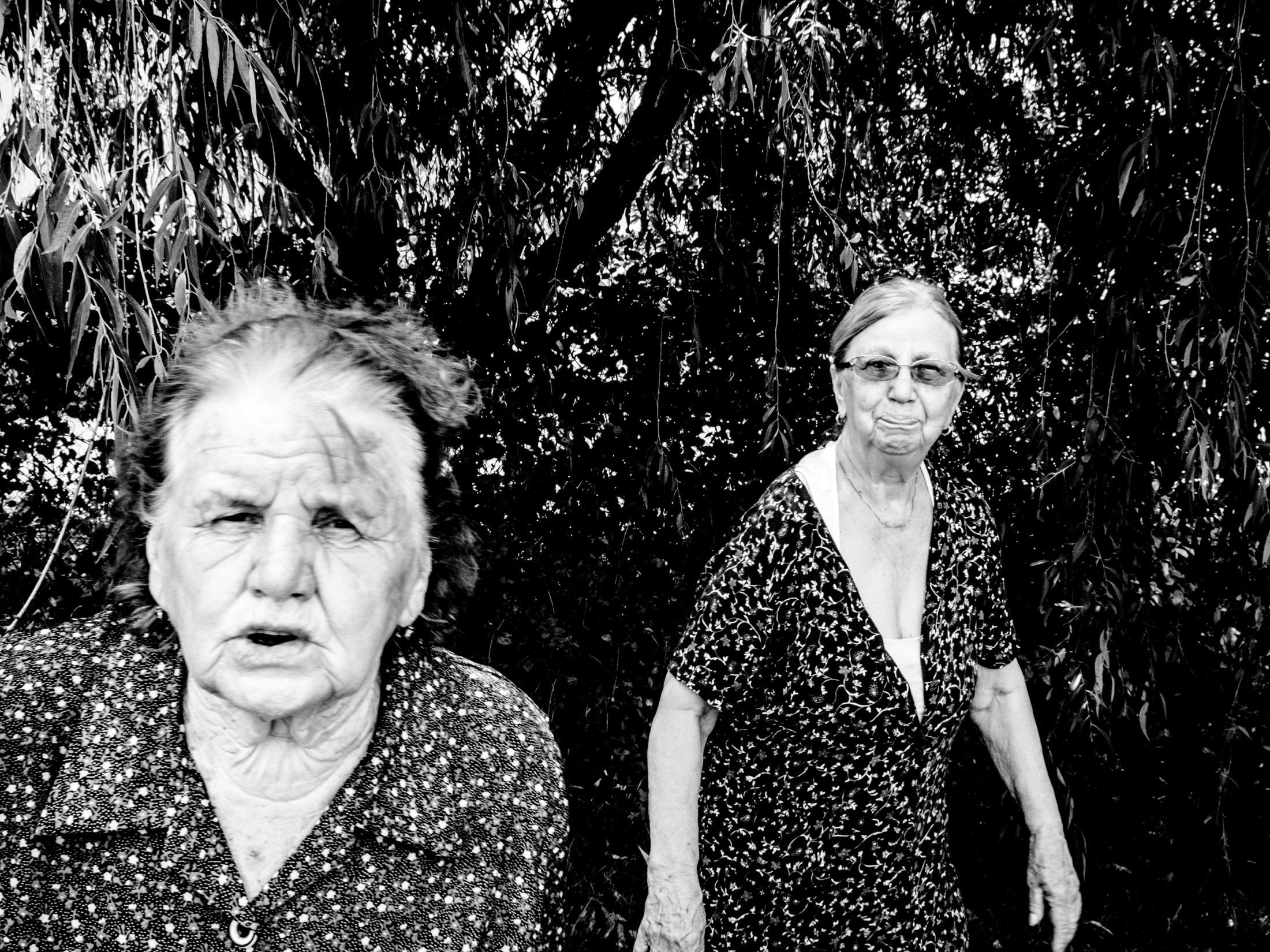 A portrait of a two old women. Rusko Selo, Serbia 2017