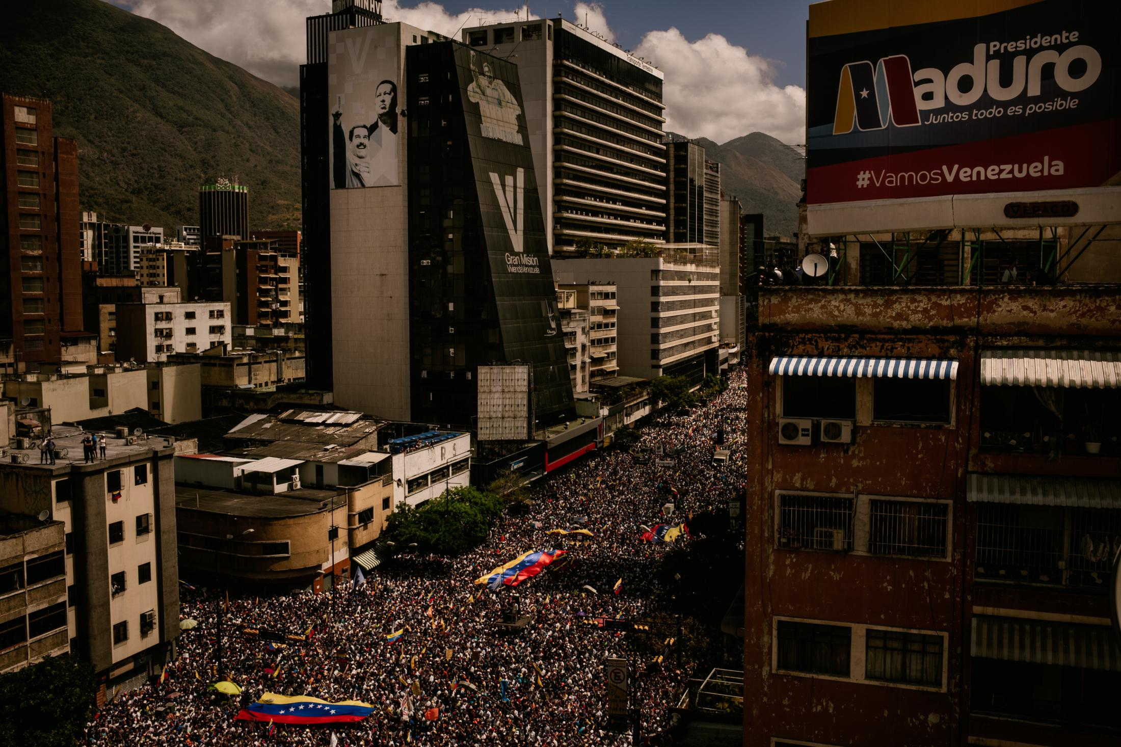 Hundreds of thousand of Venezuelans gathered in Chacao, East Caracas, to Celebrate National Youth Day and to call on the military to allow international aid to enter the country. Caracas, Venezuela. 12th February 2019. The crowd is also waiting for the appearance of Juan Guaidó, self-proclaimed acting President of Venezuela and opposition leader. The protests and marches against Maduro´s government have been taking place regularly all over the country since 2014.