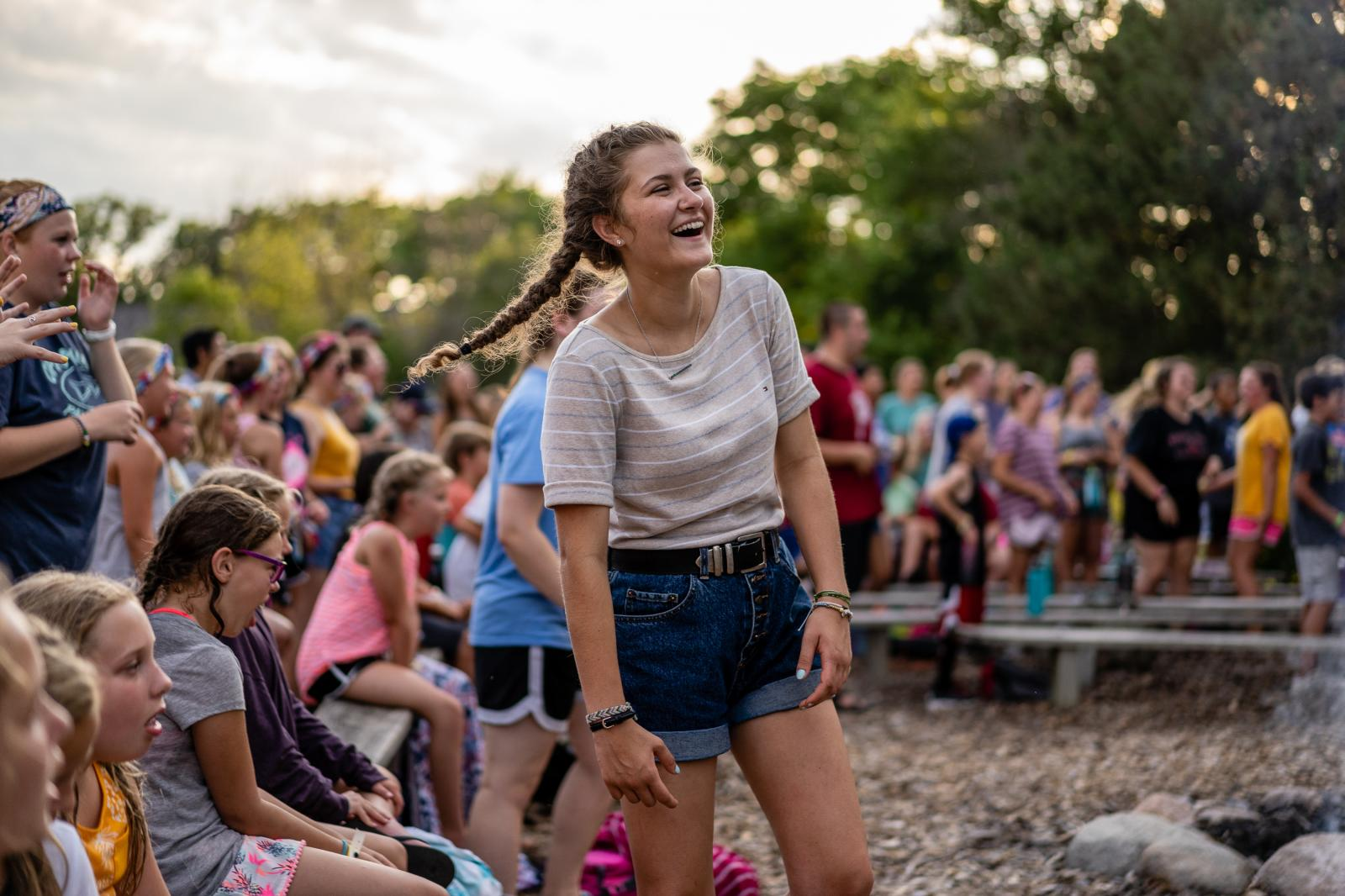 Campers sing fellowship songs at Riverside Lutheran Bible Camp in Story City, Iowa on Tuesday, July 16, 2019. ©2019 KC McGinnis