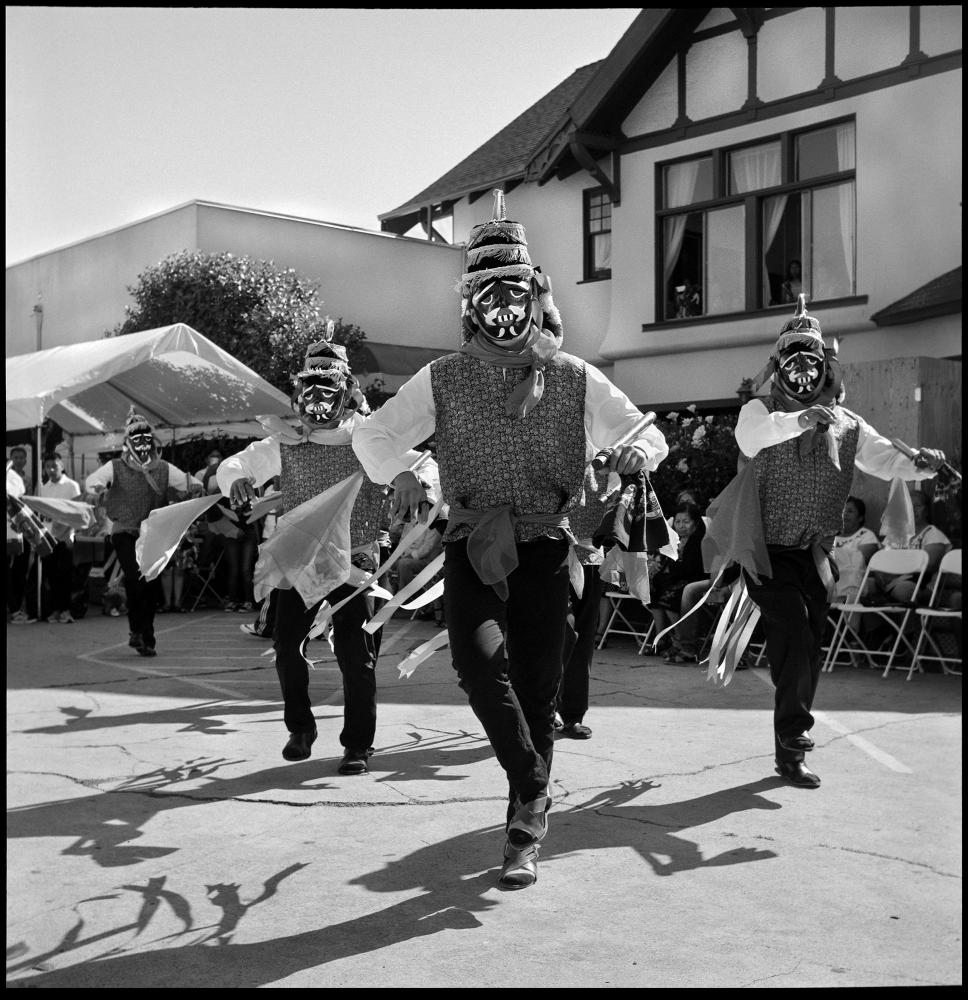 Negritos dance performed at the San Antonio de Padua celebration organized by the Yalaltec community based in Los Angeles, California. Los Angeles, USA. June 2019.