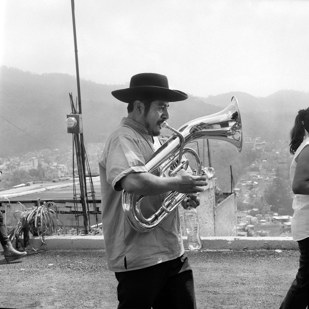 Cesar Poblano, element of Yalaltecos Unidos Band based in Mexico city. Cuautepec. Octubre, 2018