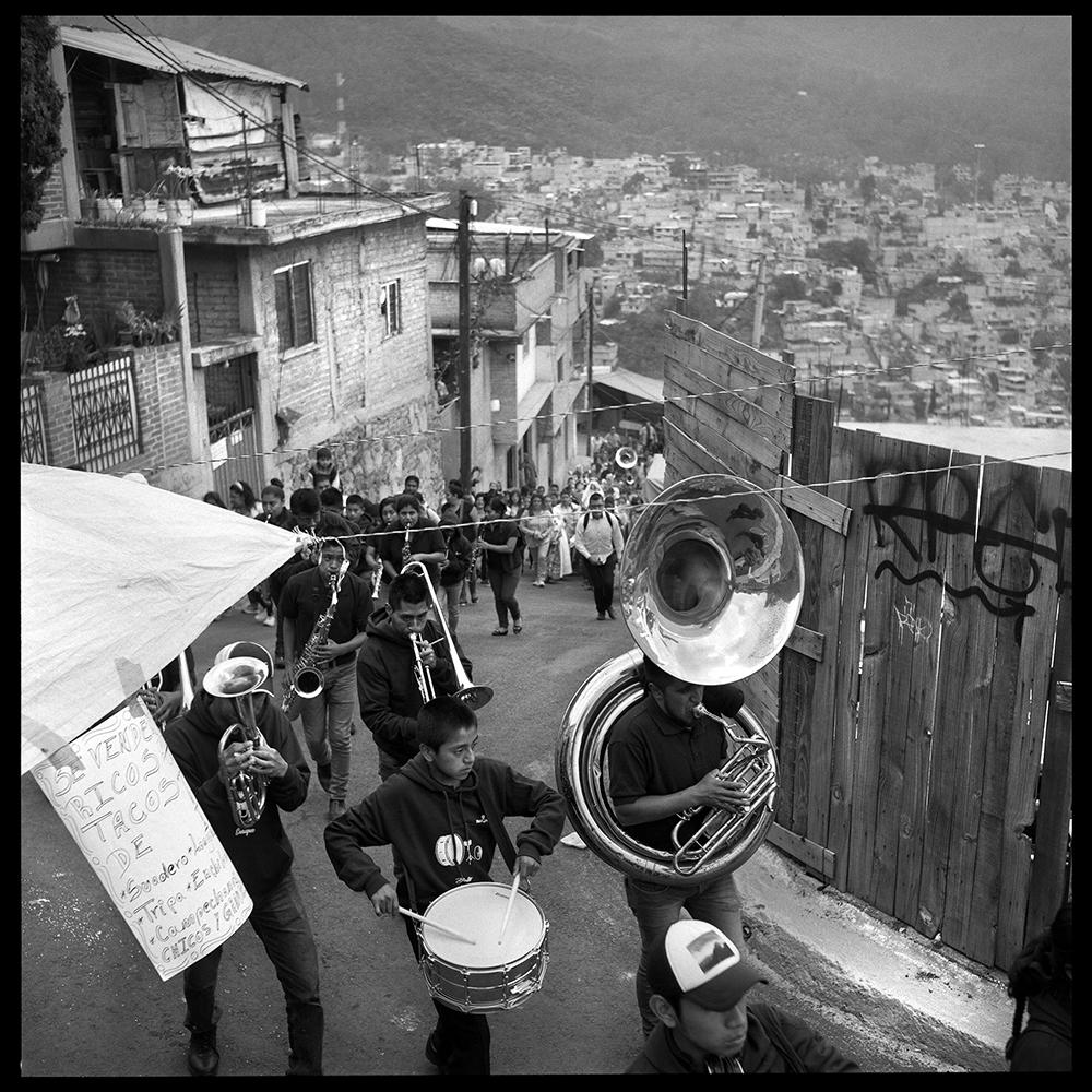 A Mixe band invited to participate in the Rosario virgin celebration. Cuautepec. Mexico City. Octubre, 2018.