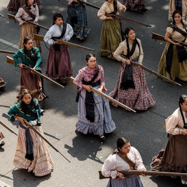 "2017. The Adelitas were women who during the Mexican Revolution (1910) rose up in arms to fight in the war, most of them were peasants. Every year women dressed as Adelitas participate in the parade of ""Cinco de Mayo"" in Puebla, México."