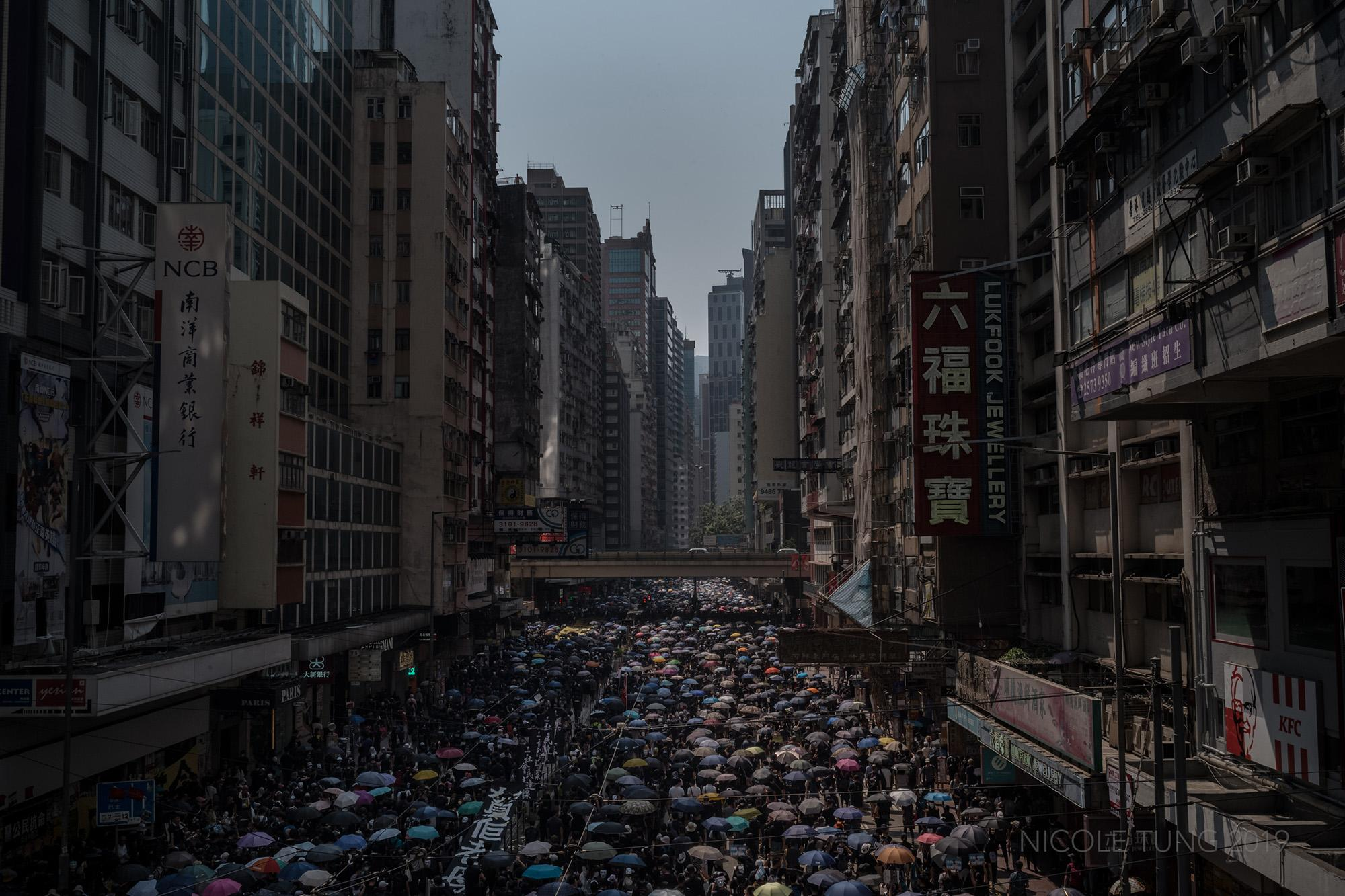 Thousands of protestors partake in an anti-government rally on Chinese National Day, in Hong Kong, S.A.R. Both peaceful and increasingly violent demonstrations have rocked the city since June 2019. October 1, 2019.