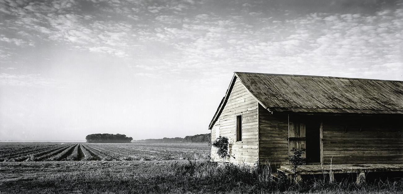 "Slave Dwelling No. 1: St James Parish, Louisiana Silver gelatin photograph handprinted from an 8x16"" film negative. The slave cabin was painted with toners to illuminate the structure. To purchase a limited edition photograph click"