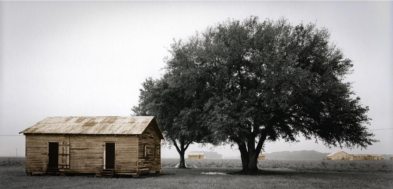 "Slave Dwelling No.6: St James Parish,  Louisiana Silver gelatin photograph handprinted from an 8x16"" film negative. The slave cabin was painted with toners to illuminate the structure. To purchase a limited edition photograph click"