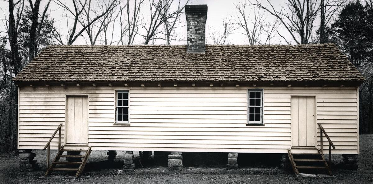 "Slave Dwelling No.31: Prestwould Plantation, Virginia Silver gelatin photograph handprinted from an 8x16"" film negative. The slave cabin was painted with toners to illuminate the structure. To purchase a limited edition photograph click"