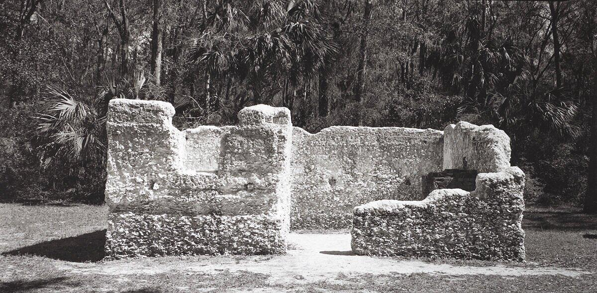 "Slave Dwelling No. 36: Kingsley Plantation, Florida  These slave dwellings were built from tabby, a kind of concrete made by mixing oyster shells and lime.  Handprinted silver gelatin photograph from an 8x16"" film camera negative directly onto the paper with no enlargement. To purchase a limited edition photograph click"