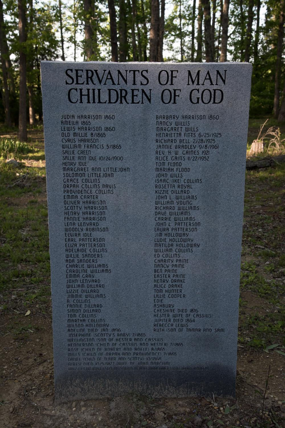 Servants of Man, Children of God: Marker at cemetery near Faunsdale Plantation, Alabama