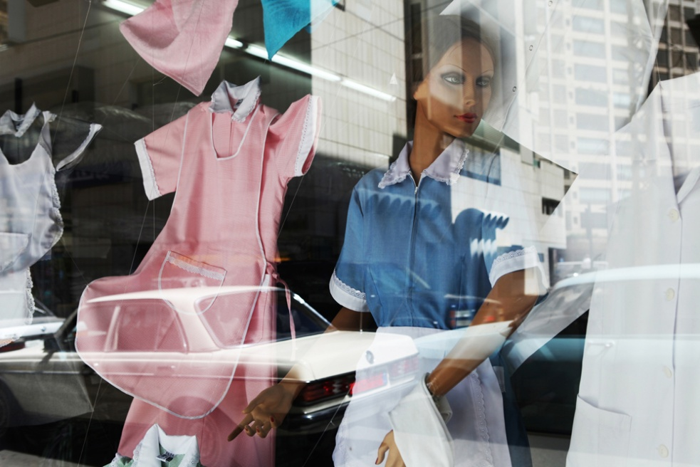 A shop window which sells maids uniforms in Beirut, Lebanon