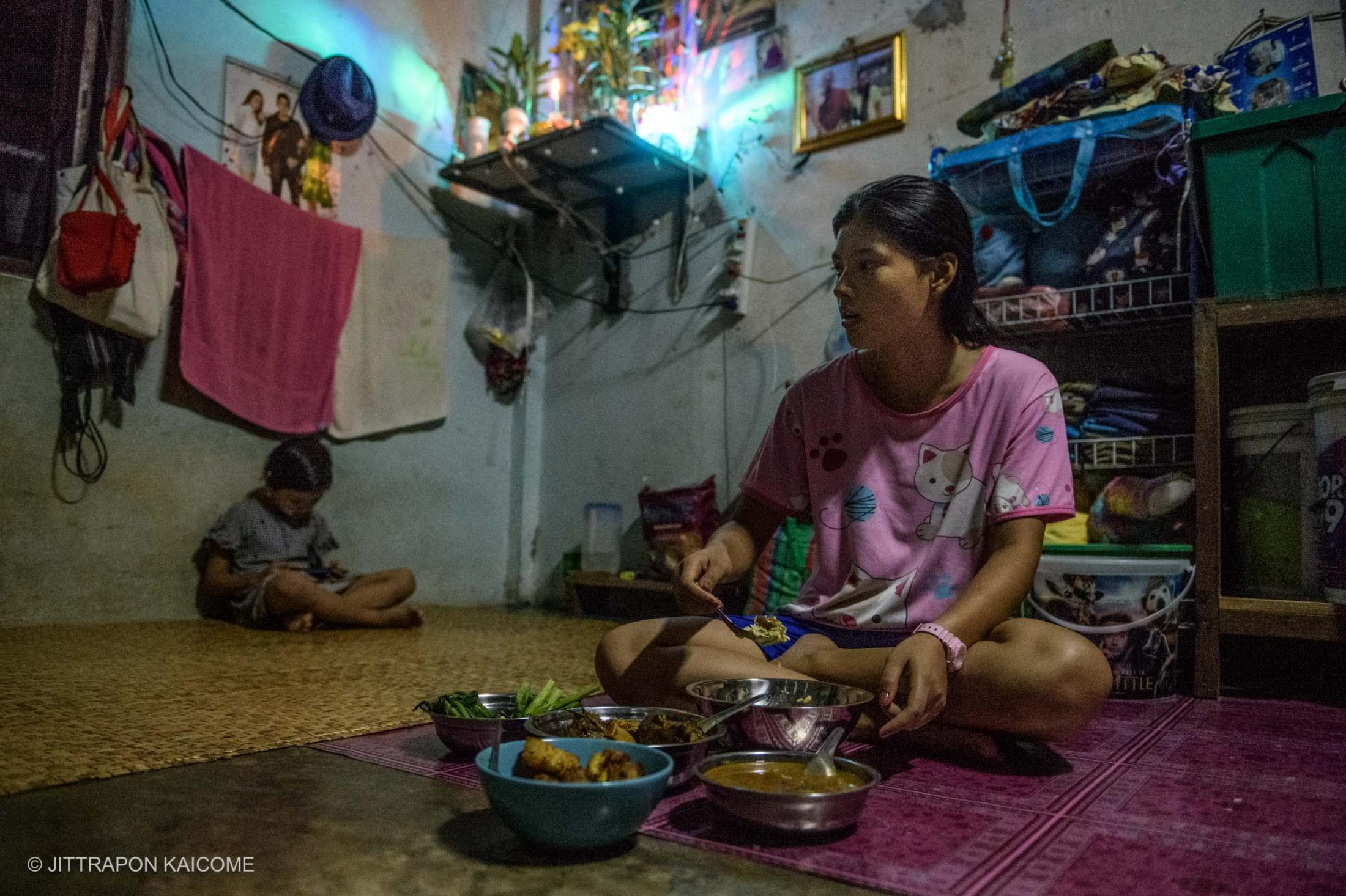 Burmese migrant worker lost her job at the sewing factory due to the Coronavirus outbreak causing no income for her to pay the daily payment and to support her child and family - Mae Sot, Tak province, Thailand, in May 2020.