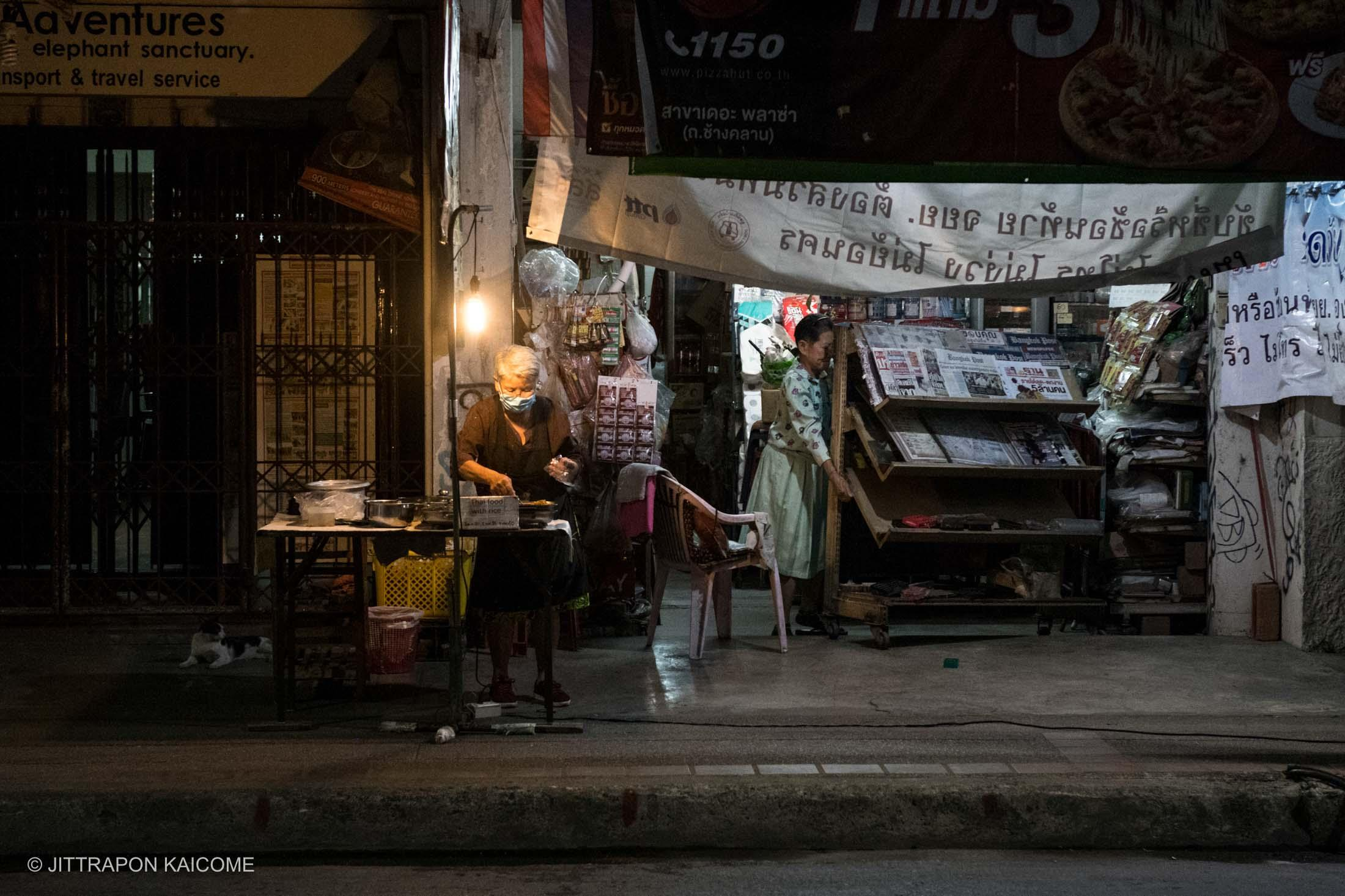 07.34 PM - Early closing from lack of customers due to Coronavirus outbreak. Chiang Mai, Thailand in March 25,2020.