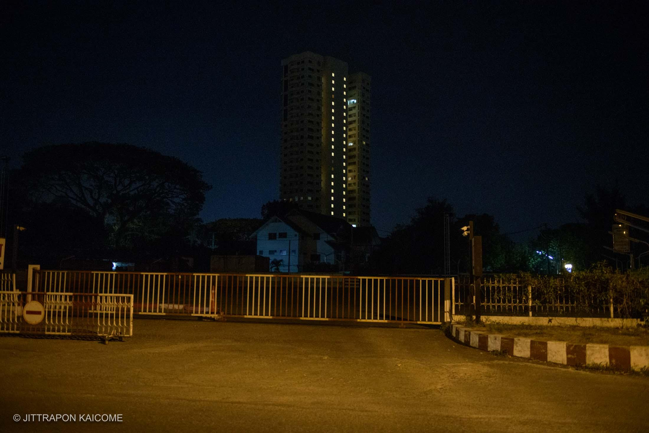 09.07 PM -Empty hotel near the Ping river. Chiang Mai, Thailand in March 25, 2020.