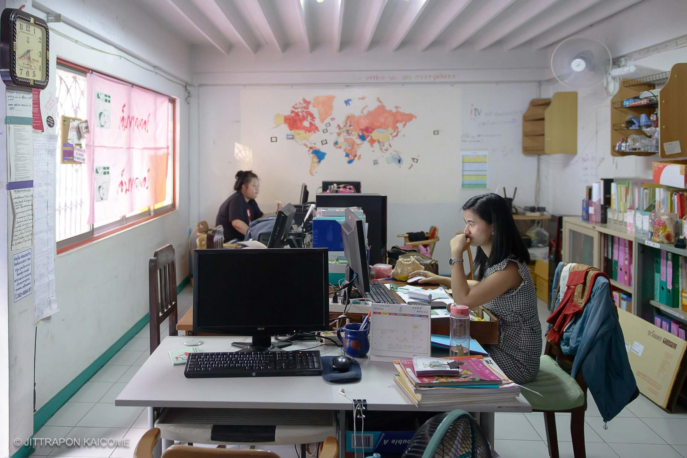 During the day, the office on the second floor of the bar is used to show NGO work of Empower and Can Do Bar. It is also used to educate a basic computer knowledge for sex workers.