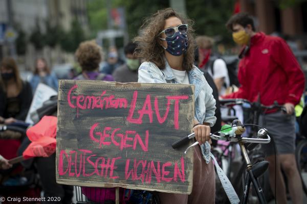 "Berlin-wide demo ""Shut Down Rental Madness - Safe home for Everyone"" at Potsdamer Platz, Berlin, Germany."