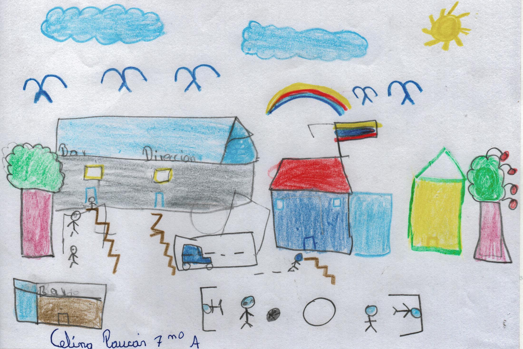 Dibujo de la Escuela Ruperto Alarcón Falconí realizado por Celina Paucar (12), una de sus estudiantes.  Muchos niños extrañan la escuela y la cotidianidad de sus días de clases antes que fueran suspendidas por la emergencia sanitaria. 22 de mayo de 2020. Cotogchoa-Ecuador. Andrés Yépez.
