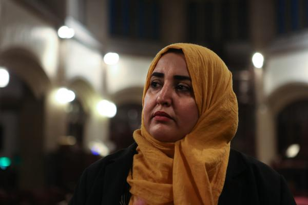 Somia Elrowmeim, co-founder of the political consulting firm Arab Women's Voice, attends an interfaith Iftar for women that took place at a Christian Curch on Park Avenue. Somia works as the Adult Education Program Manager at the Arab and Arab American Association of NY. 2019.