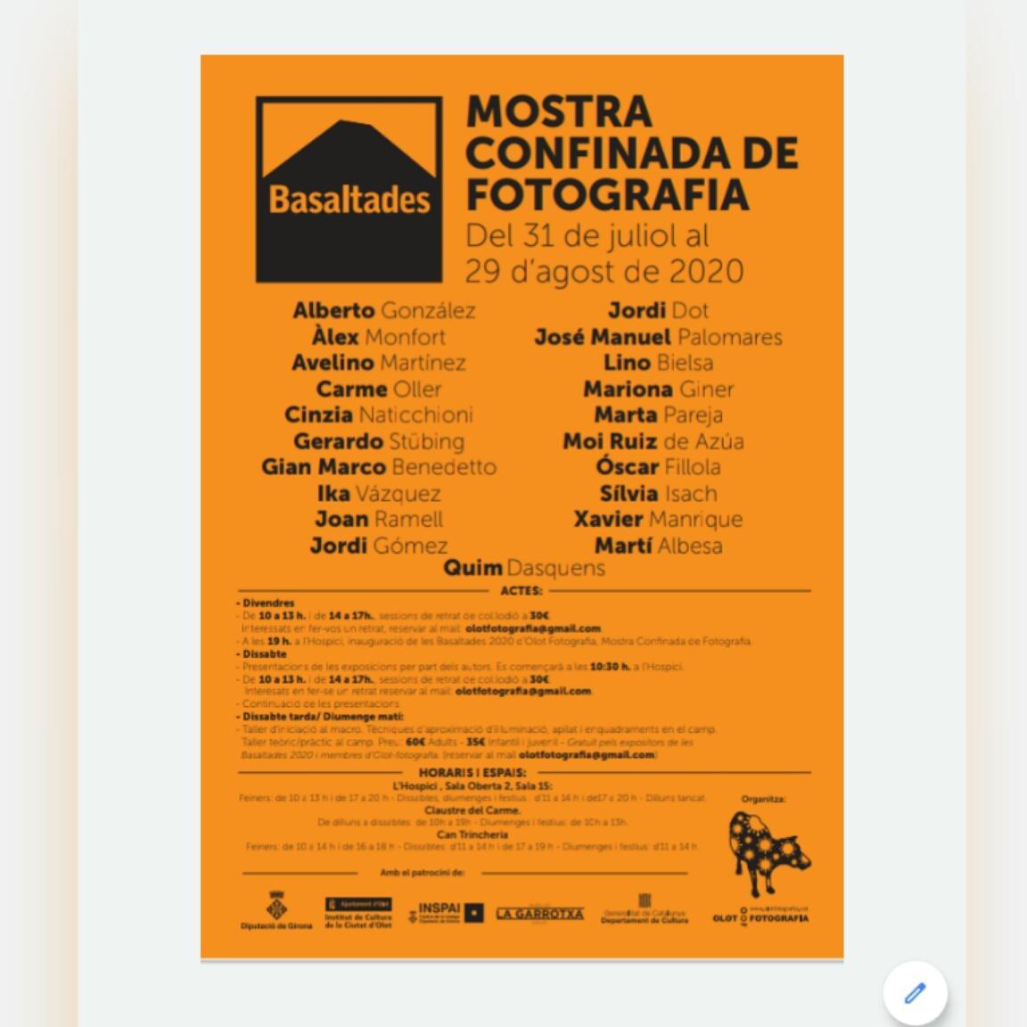 """O s presento los actos que Olot Fotografia ha organizado bajo el nombre de BASALTADES 2020, para este agosto """"confinado"""". Espero que sea de vuestro agrado y os invito a participar."""