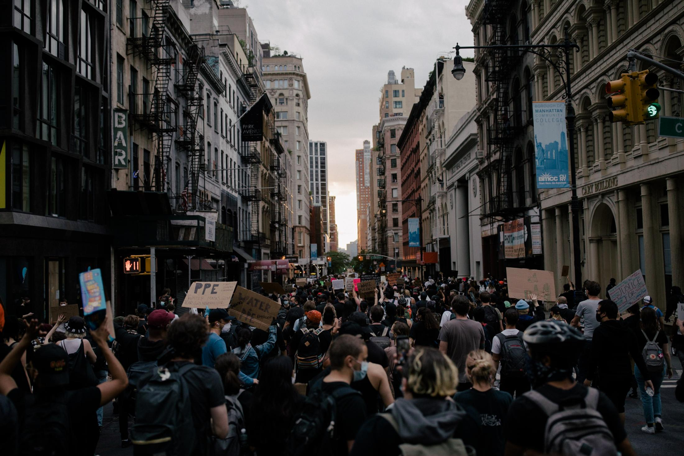 Protestors take to the streets of Manhattan to mourn the death of George Floyd who died in the hands of police and to express their displeasure with police brutality, systemic racism, and the use of excessive force by law enforcement to those of Black community, New York City, New York, U.S., June 2, 2020. Photographed by José A. Alvarado Jr.