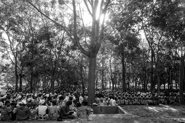 Pilgrims at the Our Lady of Lourdes grotto during the final service of the annual pilgrimage.